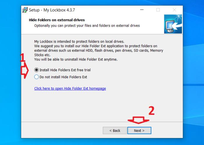 chọn cài đặt hoặc không cài đặt tính năng ẩn file