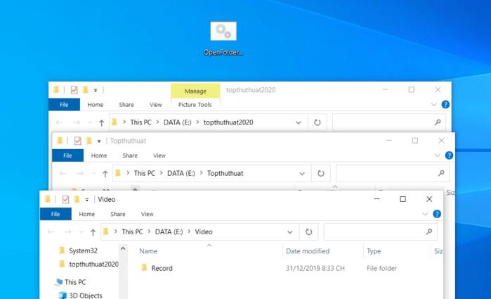 nhấn đúp vào file Batch để mở nhiều thư mục