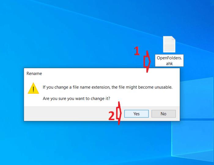 """Đổi tên file vừa tạo thành """"OpenFolders.ahk"""""""