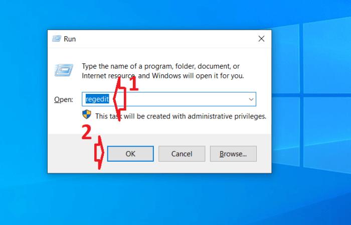 Mở cửa sổ regedit