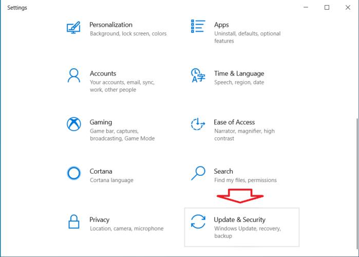 mở cửa sổ Settings vào Windows update