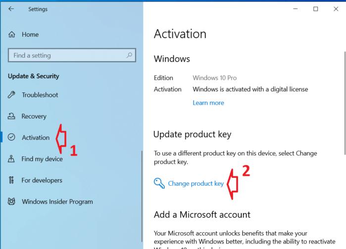 Thay đổi key active Windows 10