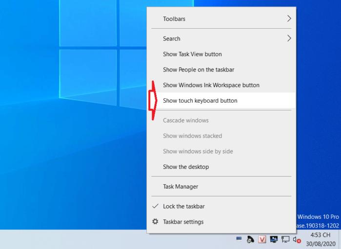 Mở Touch keyboard qua Taskbar