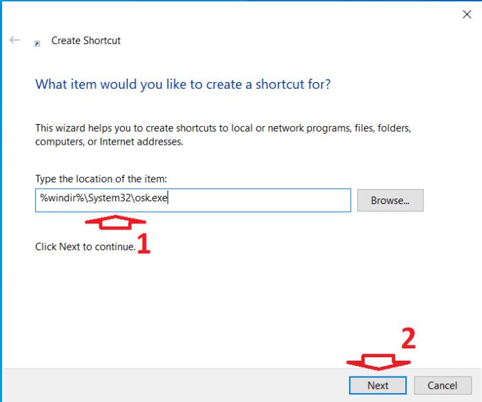 Tạo Shortcut bàn phím ảo Win 10