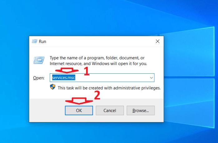 Mở cửa sổ Dịch vụ của Windows 10