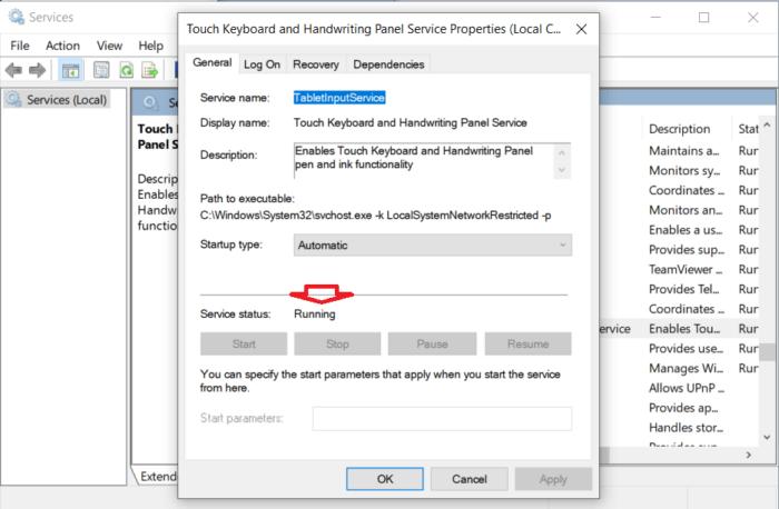 kiểm tra trạng thái dịch vụ của Touch Keyboard