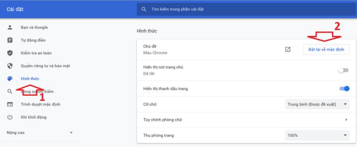 Đặt lại hình nền Chrome về mặc định