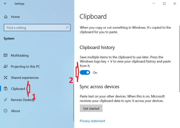 bật Clipboard history từ bảng điều khiển bên phải