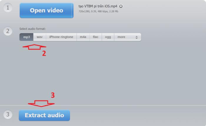 Chọn định dạng file âm thanh đầu ra và nhấn vào Extract audio