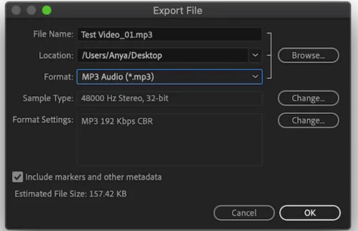 Điền tên file, vị trí lưu, định dạng file âm thanh đầu ra