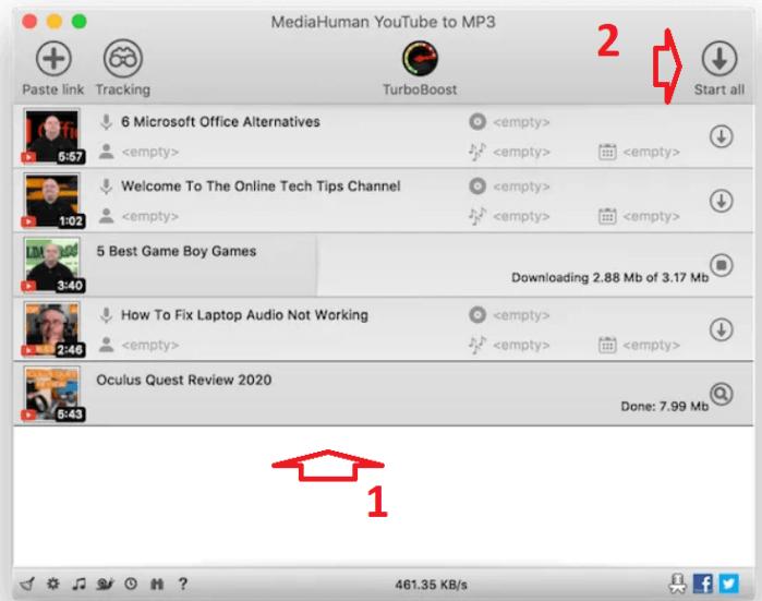 kéo thả 1 hoặc nhiều URL của video youtube vào cửa sổ