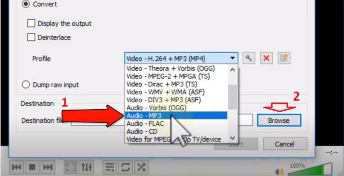 chọn định dạng cho file âm thanh xuất ra