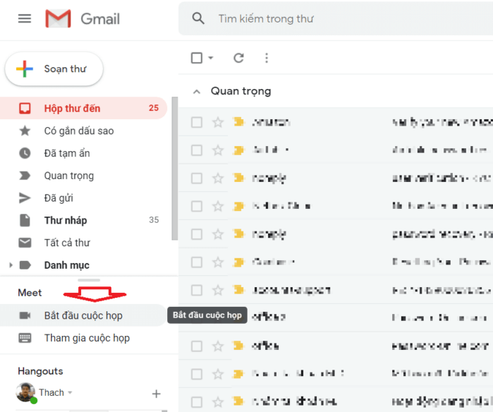 Tạo cuộc họp Google Meet mới qua gmail