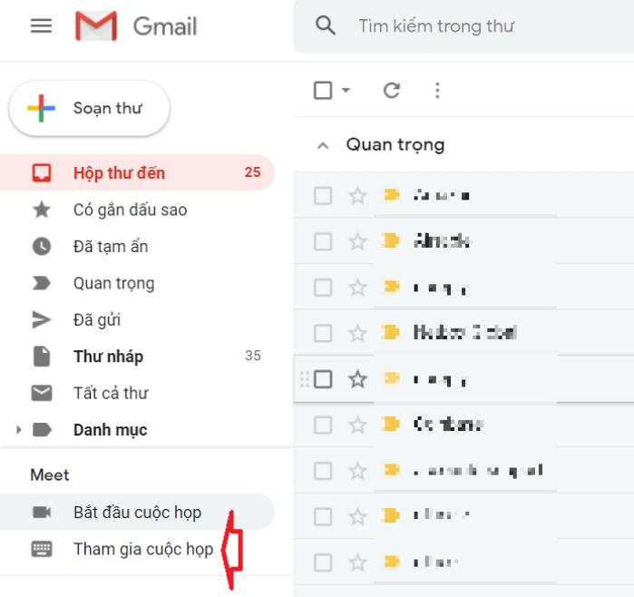 tham gia cuộc họp google meet trên gmail