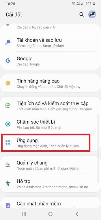 Truy cập Ứng dụng trên điện thoại Android