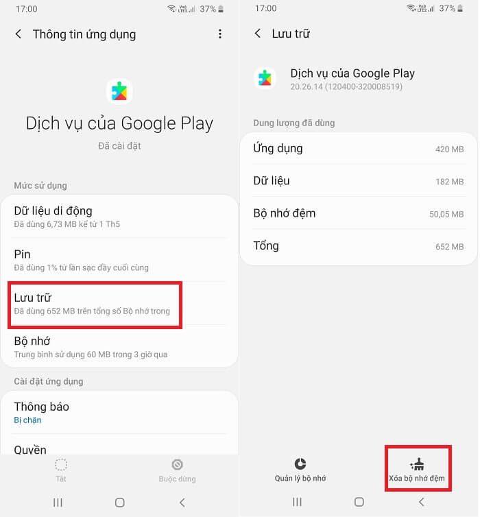 Làm sạch bộ nhớ Dịch vụ của Google Play