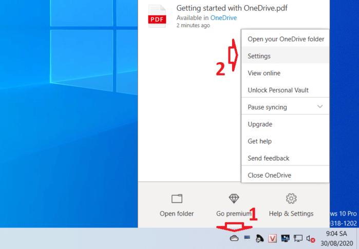 Truy cập Settings phần mềm OneDrive trên máy tính