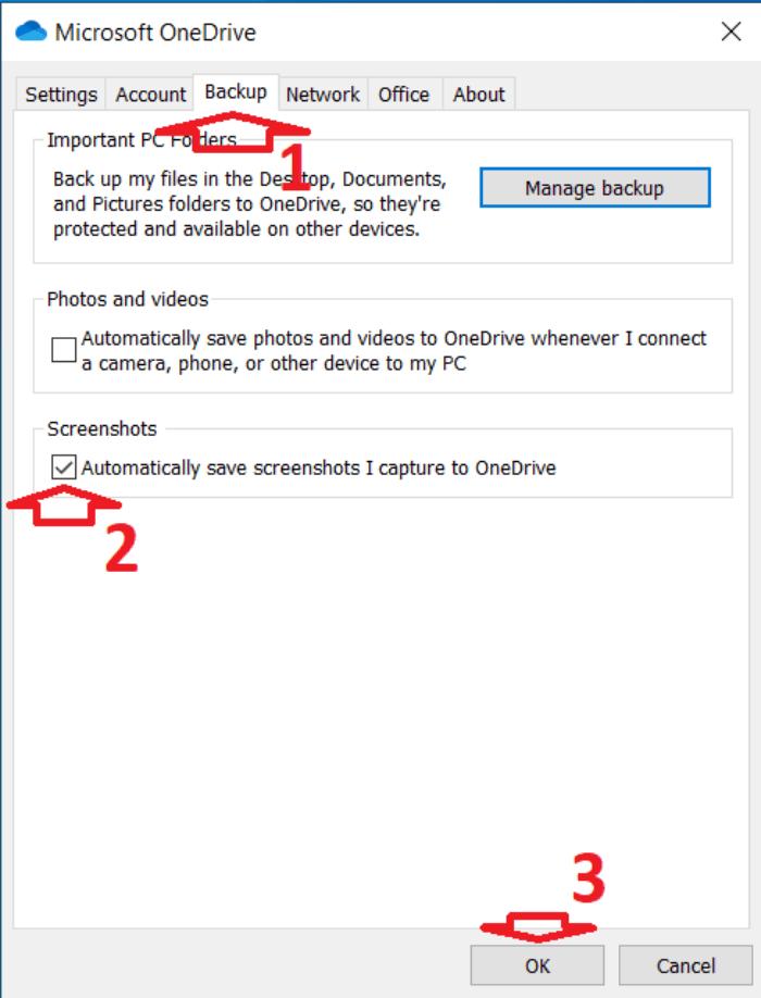cửa sổ cài đặt của OneDrive