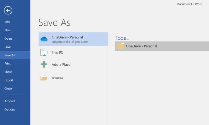 OneDrive tự động sao lưu tài liệu