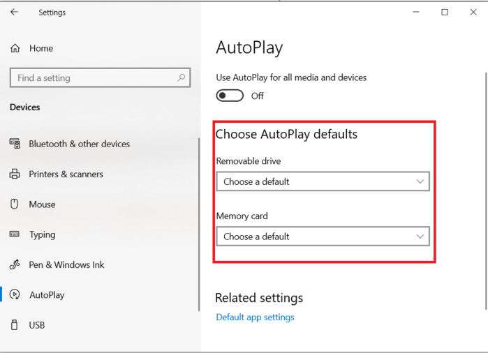 chọn hành động nếu bạn bật AutoPlay cho ổ đĩa rời và thẻ nhớ.