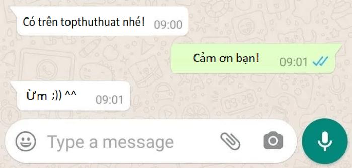 Trạng thái tin nhắn trong Whatsapp