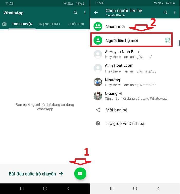 thêm liên hệ mới trong WhatsApp