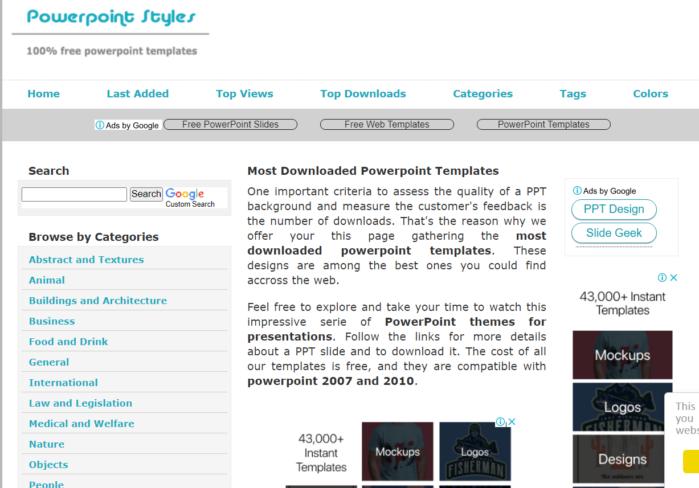 PowerPoint Styles cũng cung cấp các mẫu PowerPoint miễn phí