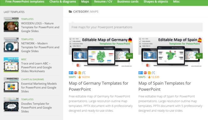 Showeet hiển thị các mẫu PowerPoint miễn phí với nhiều thông tin