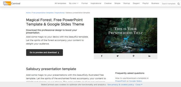 Slides Carnival là một trang web tuyệt vời để tải các mẫu PowerPoint và Google Slides