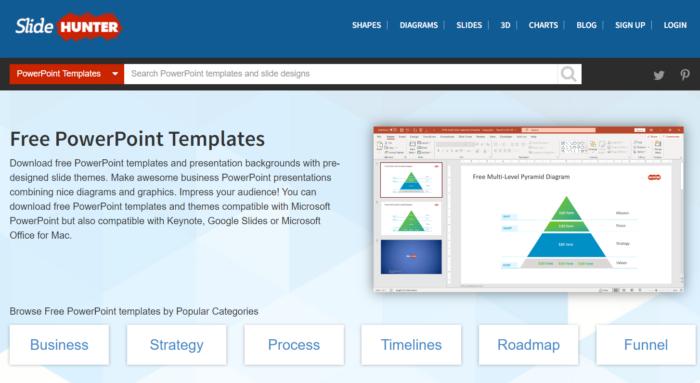 Slide Hunter liệt kê các mẫu PowerPoint miễn phí theo các chủ đề khác nhau