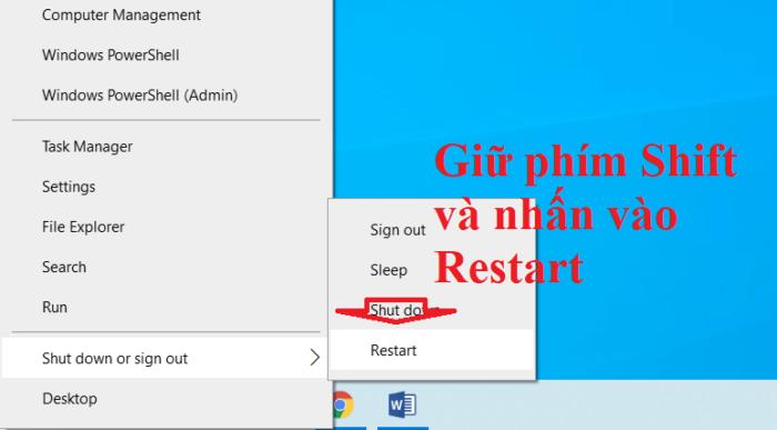 Khởi động Safe Mode với phím Shift + Click chuột