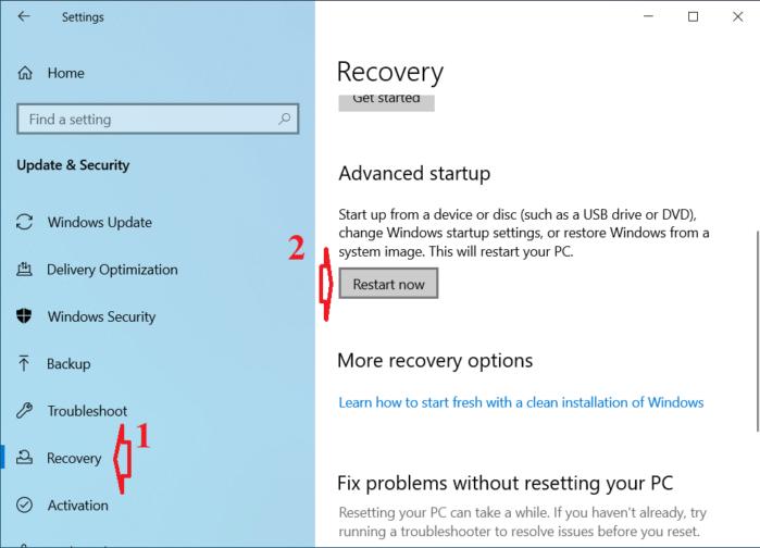 nhấp vào nút Restart Now trong phần Advanced Startup