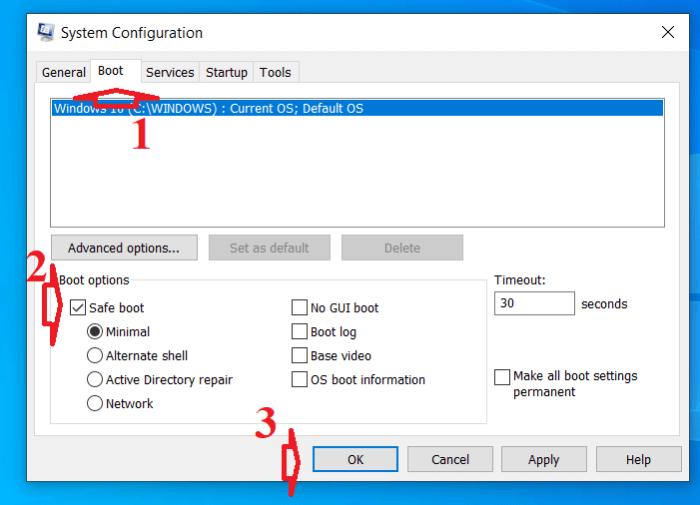 chọn hộp kiểm Safe Mode và nhấp vào nút Ok