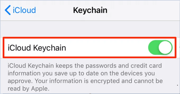 Bật tùy chọn iCloud Keychain