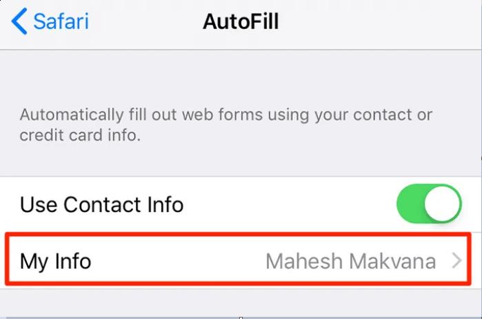 thêm thông tin cá nhân của bạn trên iphone