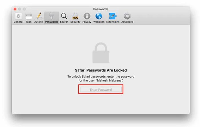 Nhập mật khẩu Mac