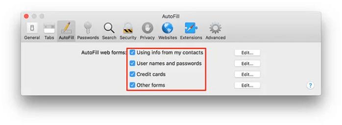 chọn thông tin mà bạn muốn Safari tự động điền