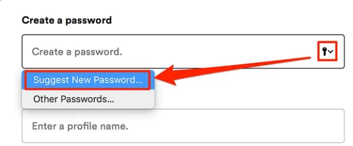 nhấp vào biểu tượng chìa khóa trong trường mật khẩu và chọn Suggest New Password