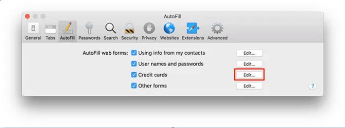Thêm thẻ tín dụng vào Keychain thủ công