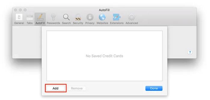 thêm thẻ tín dụng mới vào iCloud Keychain