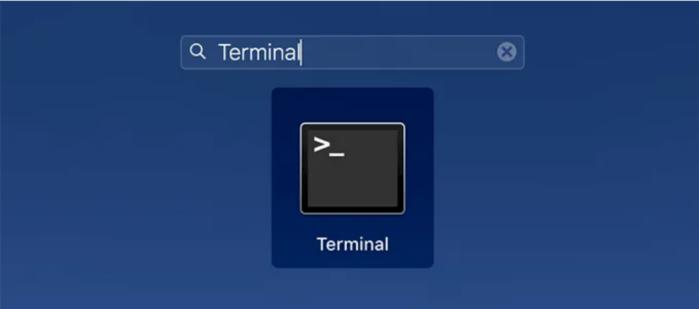 Nhấp vào Launchpad trong Dock, tìm kiếm Terminal và mở nó