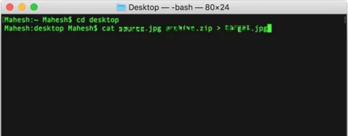 Sử dụng lệnh trong Terminal để ẩn tệp của bạn trong ảnh JPG