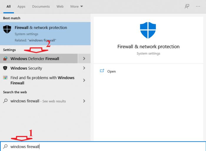 mở menu Start sau đó tìm kiếm Windows firewall