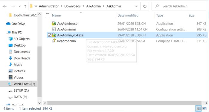chạy file .exe (tùy thuộc vào kiến trúc hệ thống của bạn là 32bit hay 64bit)