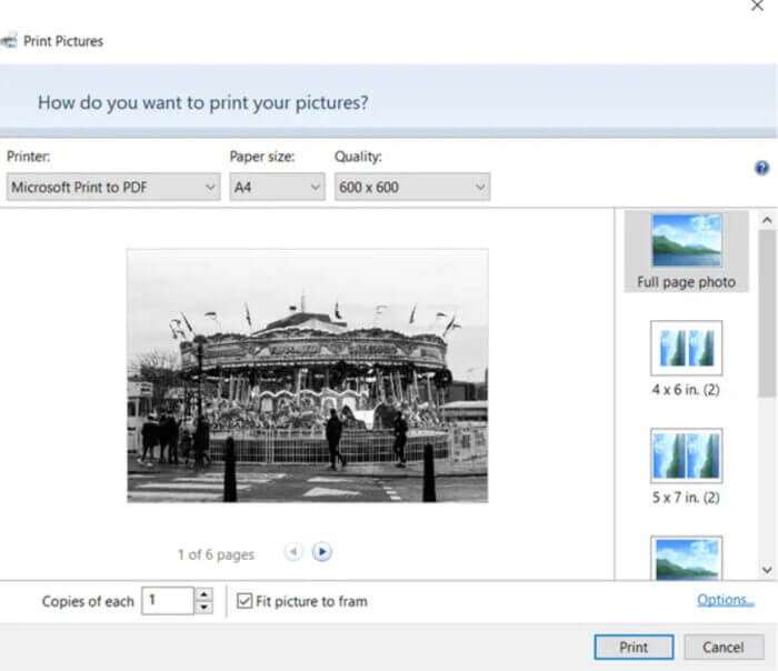 Chọn Microsoft Print to PDF từ danh sách các máy in có sẵn