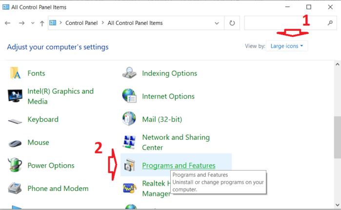 Mở cửa sổ quản lý chương trình và tính năng của máy tính