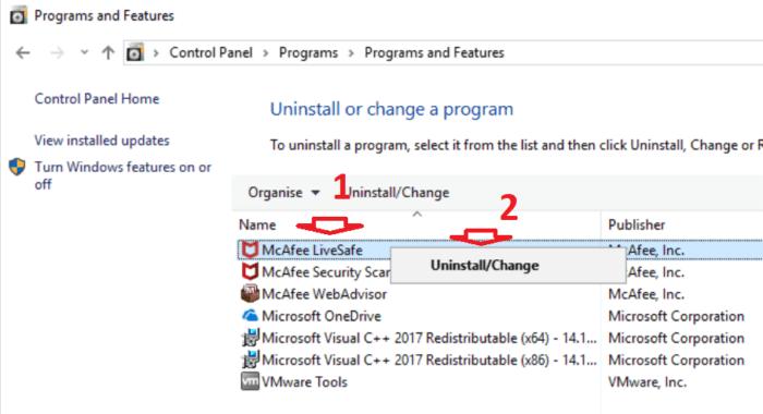 gỡ cài đặt McAfee khỏi Windows 10