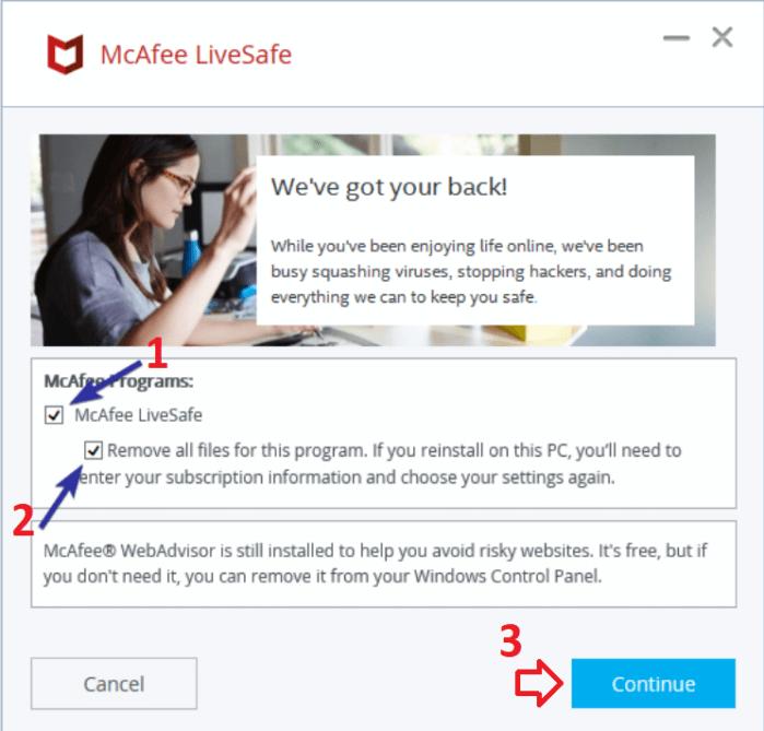 McAfee không gỡ cài đặt ứng dụng Web Advisor