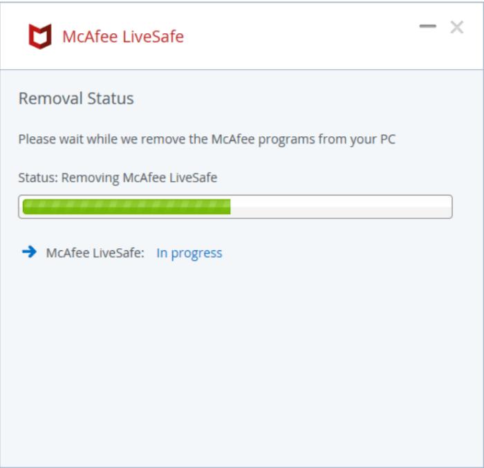 McAfee bắt đầu tự gỡ cài đặt, quá trình này sẽ mất một chút thời gian.