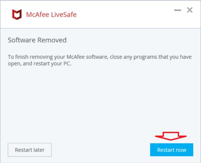 Khởi động lại máy tính để hoàn tất quá trình gỡ cài đặt McAfree